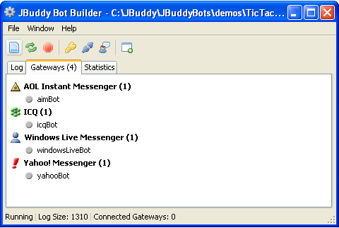 JBuddy Bot Builder on Windows XP - Gateways