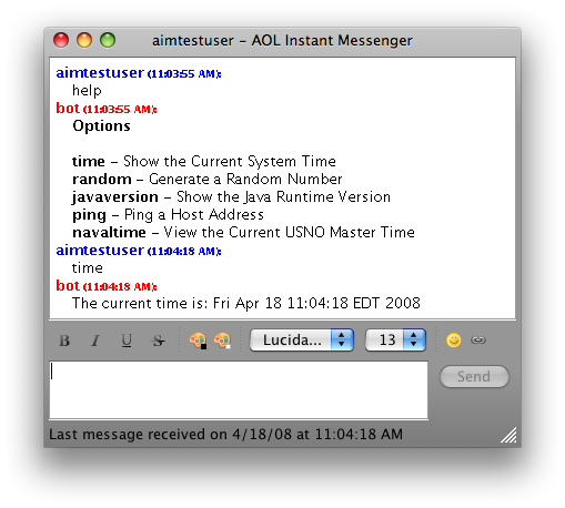 AIM Bot Test Chat on Mac OS X Leopard